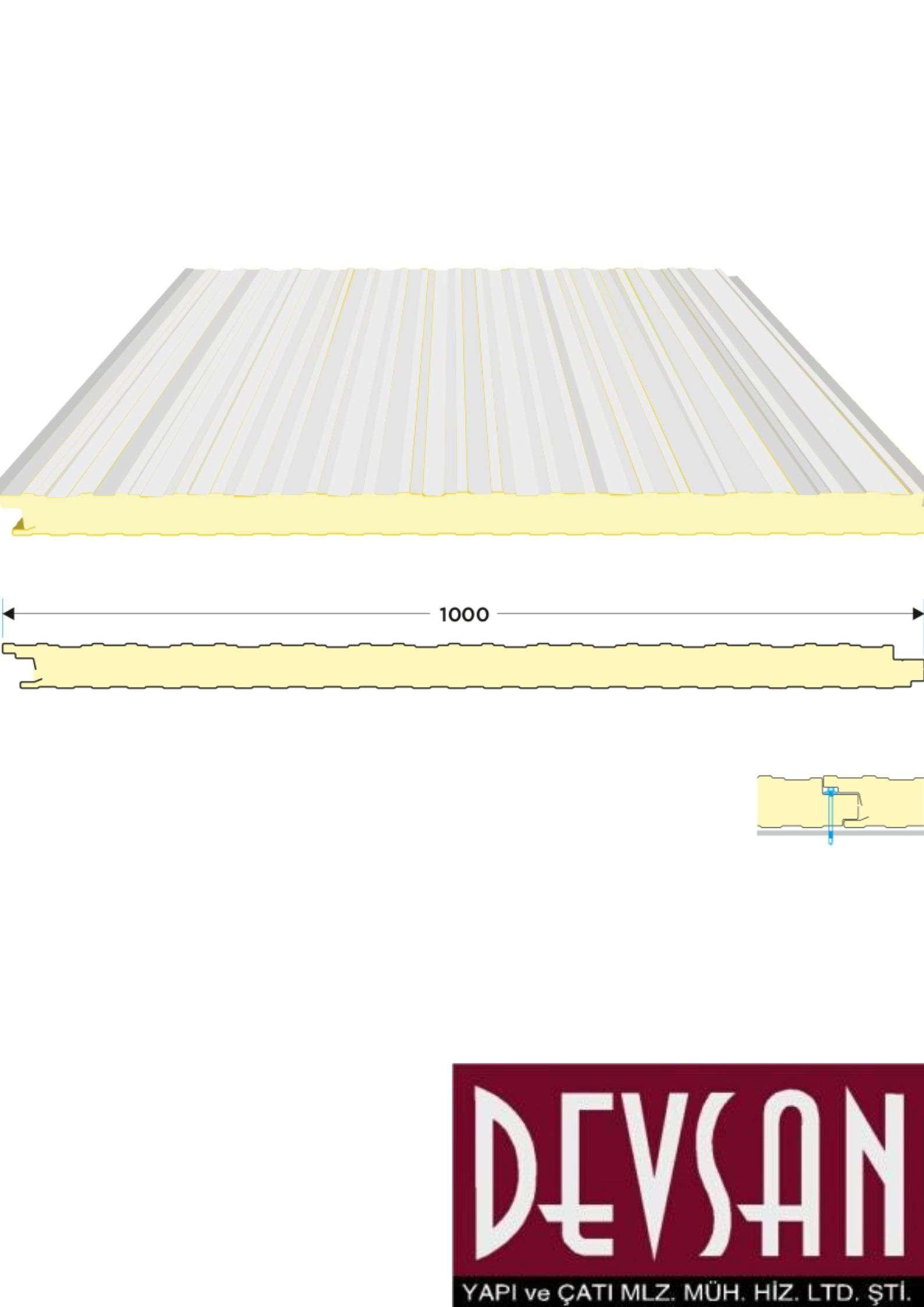 Sandvic Cephe Paneli 40mm. PU. Ral 9002